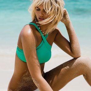 Sea foam halter cross neck bikini top